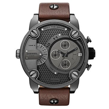 Diesel Men's Little Daddy Stainless Steel Leather Band 51mm