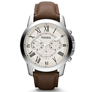 Fossil Men's Grant Stainless Steel with Brown Leather Strap Watch 44mm