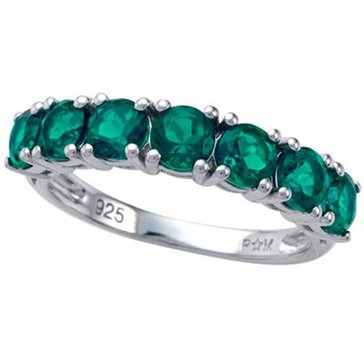 Sterling Silver Created Emerald Ring