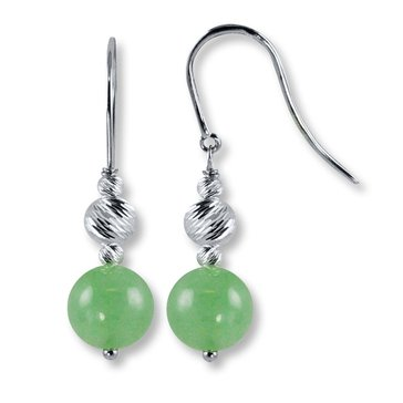 Sterling Silver Jade & Sparkle Bead Earrings
