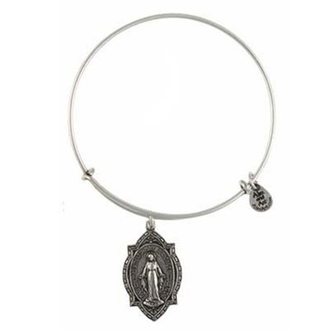 Alex and Ani 'Mother Mary' Expandable Wire Bangle Silver Tone