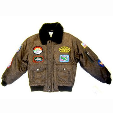 Business Innovations Boys USN WWII Bomber Brown Jacket