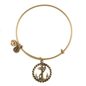 Alex and Ani Anchor With Rope Circle Expandable Wire Bangle Gold Tone