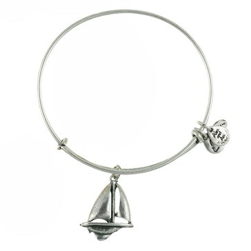 Alex and Ani 'Sailboat' Expandable Wire Bangle Silver Tone