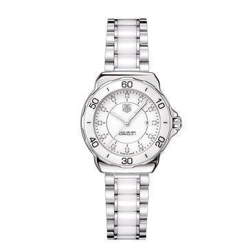Tag Heuer Women's Aquaracer Diamond Accent White Ceramic And Stainless Steel Bracelet Watch 32mm