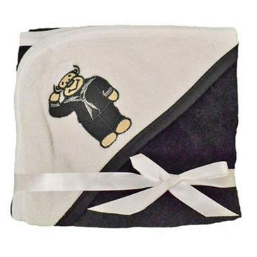 Trooper USN Black And White Fleece Blanket With Embroidered Sailor Teddy Bear