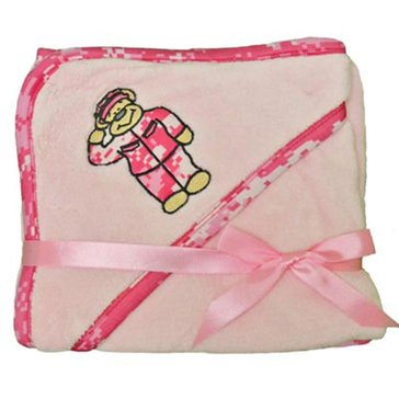 Trooper USN Pink Fleece Blanket With Embroidered Pink Camo Teddy Bear