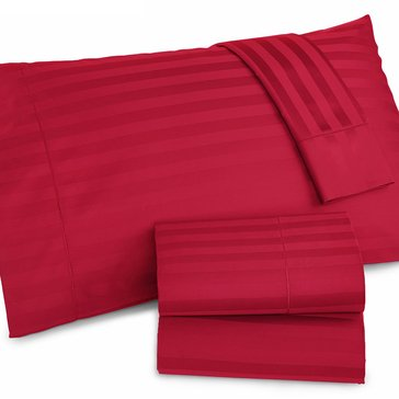 Charter Club Damask Stripe 500 Thread-Count Sheet Set, Crimson - Queen