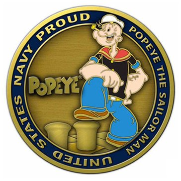USN Popeye The Sailor Man-Navy Proud Coin