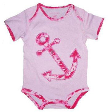 Trooper USN Pink Onesie With Pink Camo Anchor