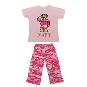Trooper Toddler USN 2Pc Pink Teddybear Set
