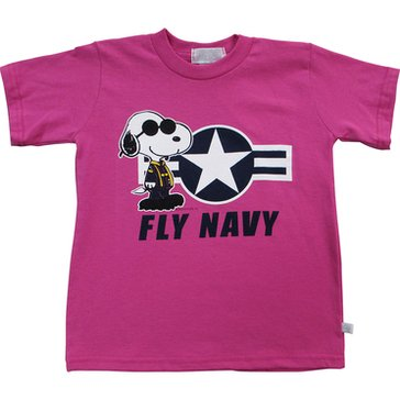 Third Street Sportswear Girls' USN Snoopy Fly Navy Tee