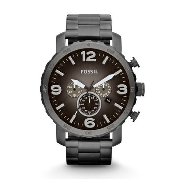 Fossil Nate Chronograph Stainless Steel Smoke Watch 50mm