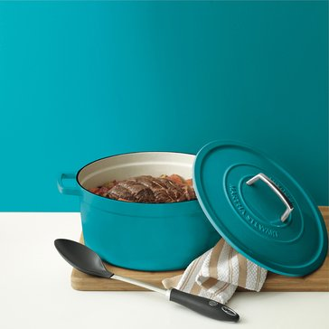 Martha Stewart Collection Enameled Cast Iron 8-Quart Casserole, Teal