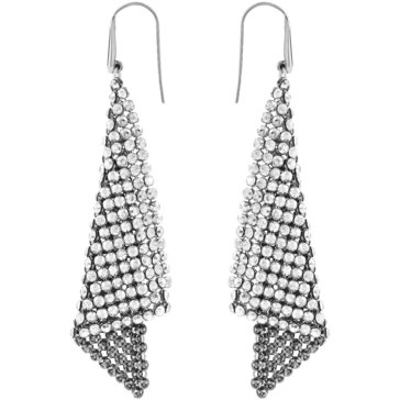 Swarovski Fit Pierced Earrings, Gray, Rhodium Plating