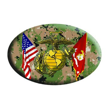 Mitchell Proffitt USA/USMC Crossed Flags Digi Camo Magnet
