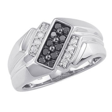 Black And White Diamond Gents Ring 1/2 CTTW, Sterling Silver