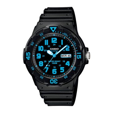 Casio Men's Diver Style Analog Watch MRW200H-2BV, Black/ Blue 44.6mm