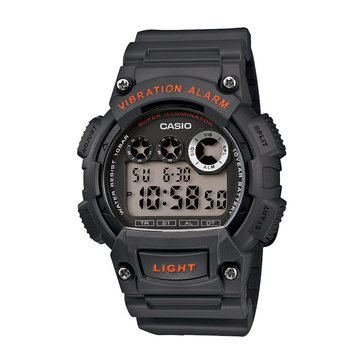 Casio Men's Vibration Alarm Digital Watch W735H-8AV, Black/ Red 51mm