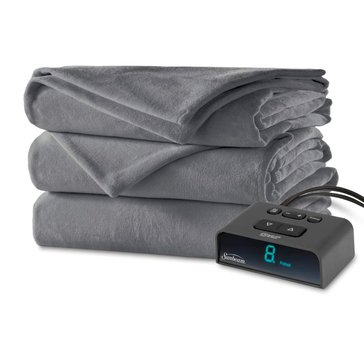 Sunbeam Plush Electric Blanket, Slate - Queen