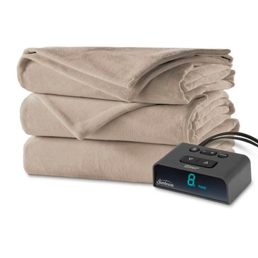 Sunbeam Plush Full Electric Blanket, Mushroom