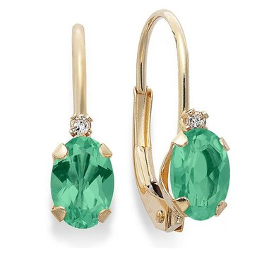10K Oval Emerald and Diamond Lever Back Earrings
