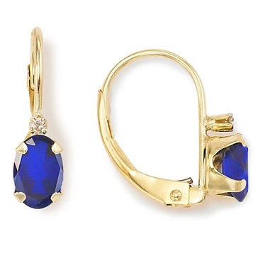 10K Sapphire and Diamond Lever Back Earrings