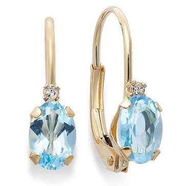 10K Blue Topaz and Diamond Lever Back Earrings