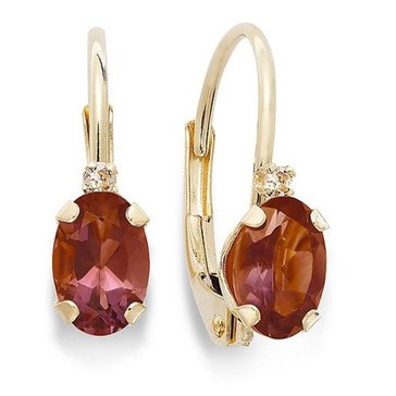 10K Garnet and Diamond Lever Back Earrings
