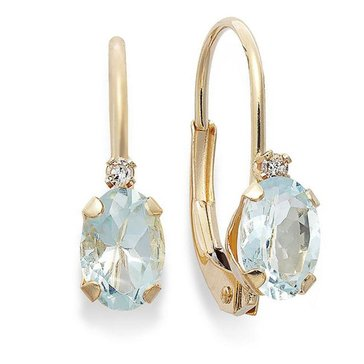 10K Aqua and Diamond Lever Back Earrings
