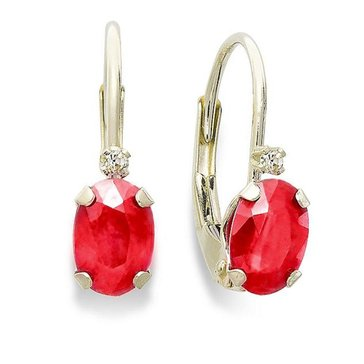 10K Ruby and Diamond Lever Back Earrings