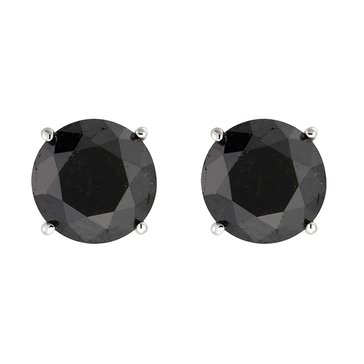 10K White Gold 1 cttw Black Diamond Stud Earrings