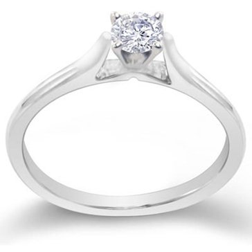14K White Gold 1/4 cttw Round Solitaire Engagement Ring