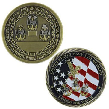 Vanguard USN Retired CPO Engraveable Coin