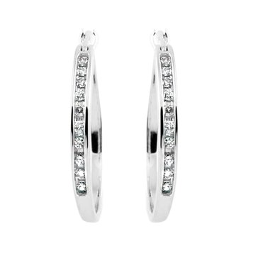 Sterling Silver 1/10 cttw Hoop Earrings