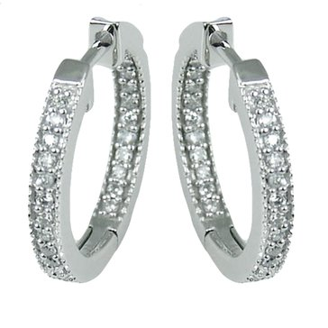 Sterling Silver 1/8 cttw Hoop Earrings