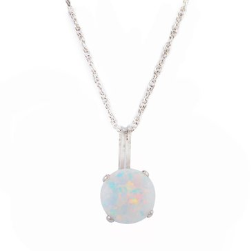 Sterling Silver Round Created Opal Pendant
