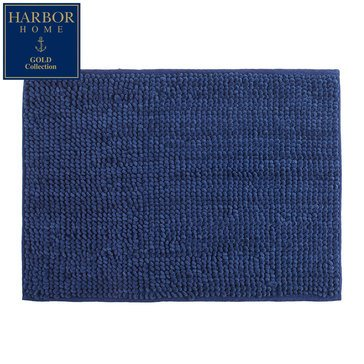 Harbor Home Gold Collection 17x24 Bath Rug, Navy