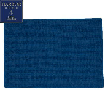 Harbor Home Gold Collection 20x32 Bath Rug, Navy