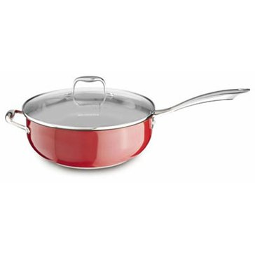 KitchenAid Stainless Steel 6-Quart Chef's Pan With Lid, Empire Red