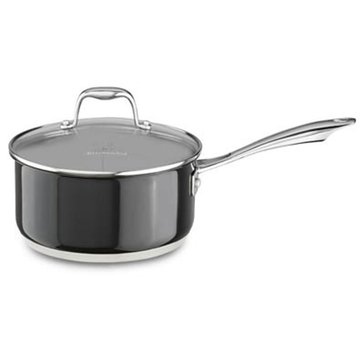 KitchenAid Stainless Steel 3-Quart Sauce With Lid, Onyx Black