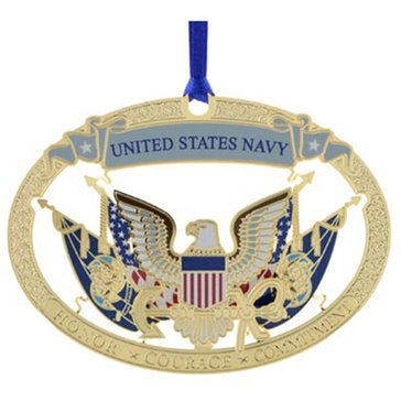 Chemart USN Honor, Courage, Commitment, Eagle & Flag Gold Ornament
