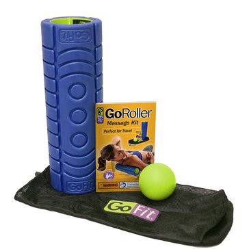 "GoRoller Recovery Kit with Trigger Therapy Ball, Carry Bag, & Training Manual  12"" x 4"" – Blue/Green"
