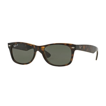 Ray-Ban Unisex New Wayfarer Classic Polarized Sunglasses RB2132, Tortoise/ Green Classic G-15 55mm