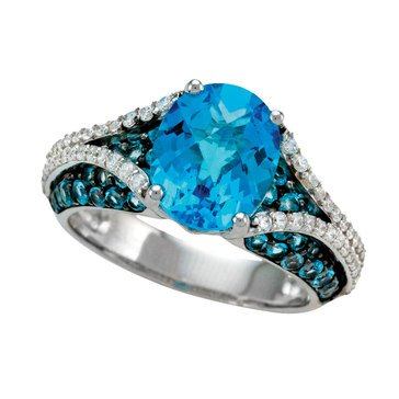 Blue Topaz & White Topaz Ring, Sterling Silver