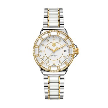 Tag Heuer Women's Formula 1 White Ceramic/18K Gold Plated and Polished Steel Diamond Bracelet Watch, 37mm