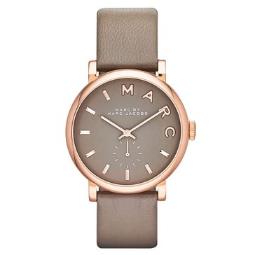 Marc Jacobs Women's Baker Rosegold tone with Gray Leather Strap Watch 37mm