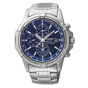 Seiko Men's Chronograph Stainless Steel Solar Sport Dress Watch 44mm