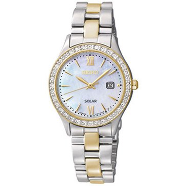 Seiko Women's Two-Tone Mother-Of-Pearl Dial With Swarovski Crystals Dress-Solar Classic Watch, 28mm