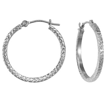 14K White Gold DC Hoop Earrings